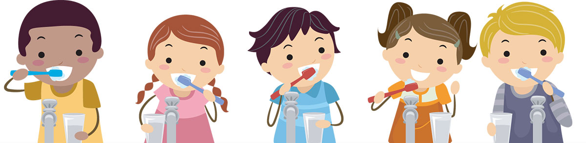 A colorful illustration of a row of kids brushing their teeth