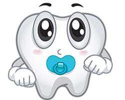 Illustration of tooth with baby pacifier