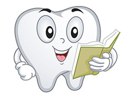 Illustration of tooth reading a book